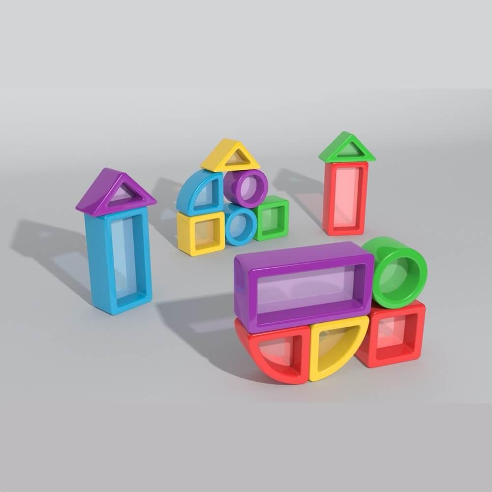 construcciones para equilibrio con cristal mesa luz 15 piezas ref 62203