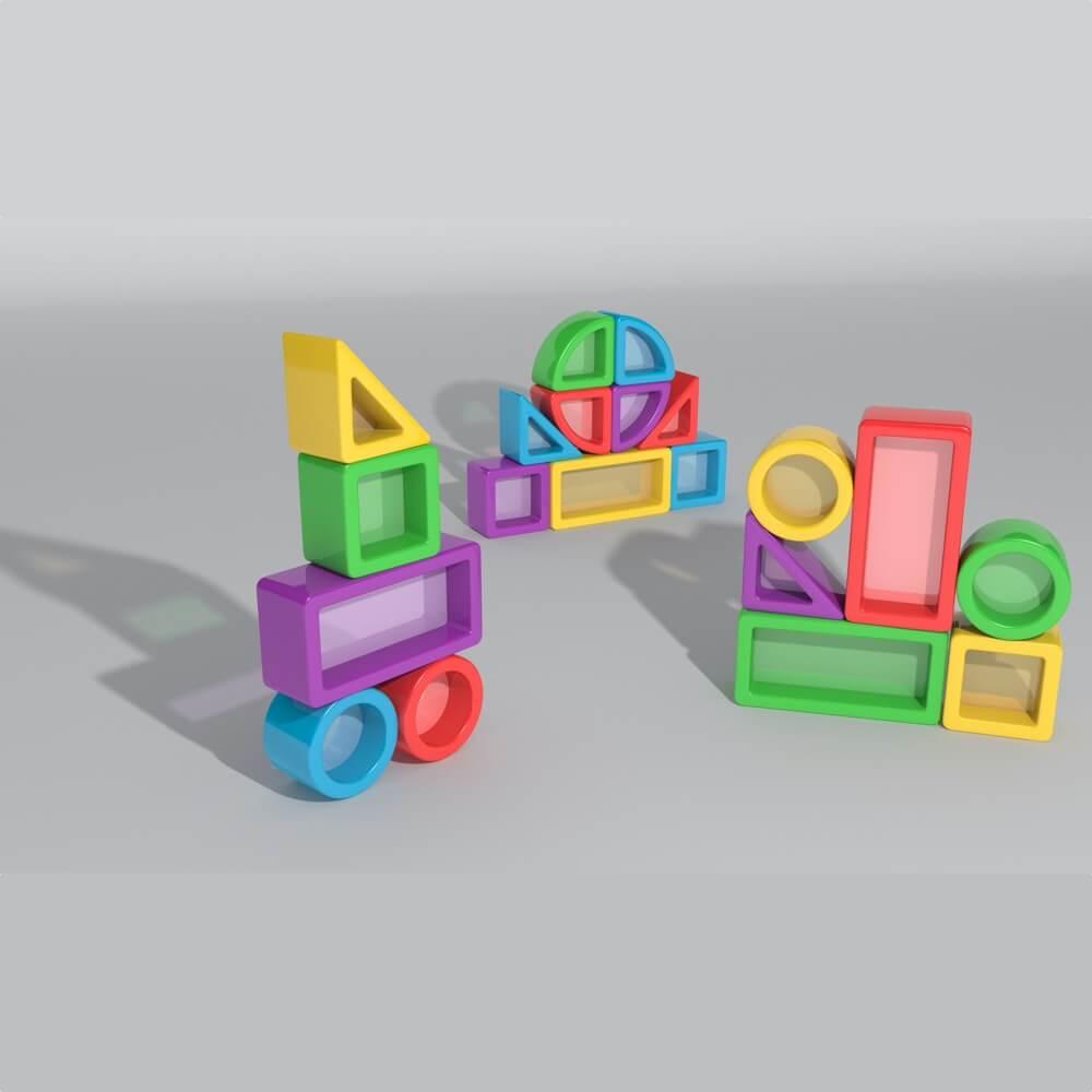 construcciones para equilibrio con cristal mesa luz 30 piezas ref 62205