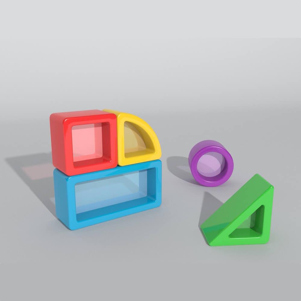 construcciones para equilibrio con cristal mesa luz 5 piezas ref 62101