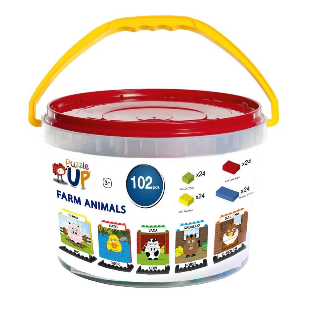 puzle vertical de construccion bilingue animales de granja 102 piezas envase ref 83435