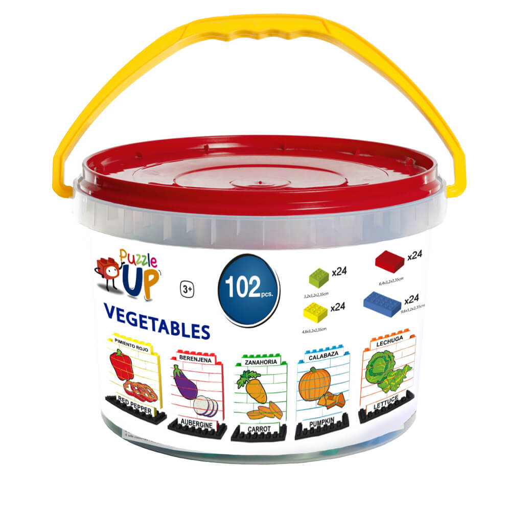 puzle vertical de construccion bilingue verduras 102 piezas envase ref 83430