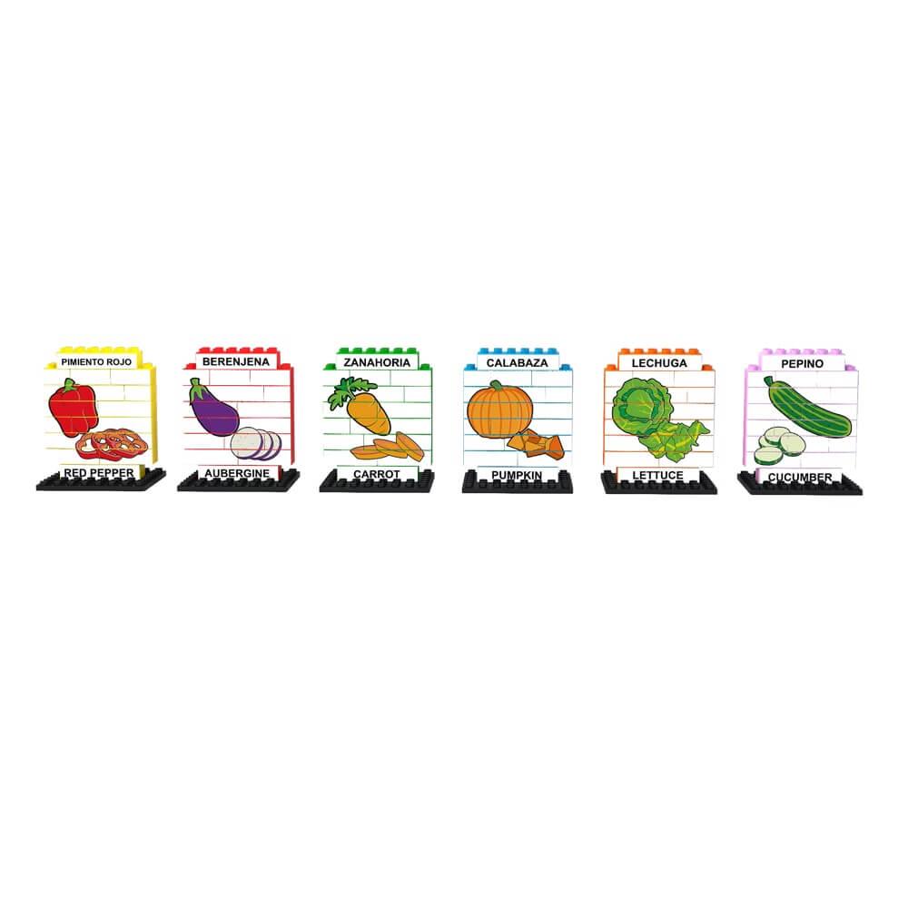 puzle vertical de construccion bilingue verduras 102 piezas ref 83430